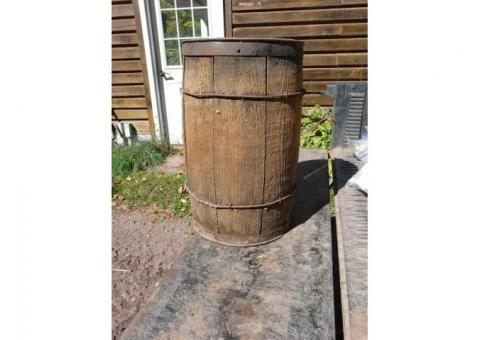 Vintage wire wrapped wooded nail keg
